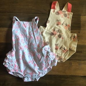 Set of two baby girl rompers with ruffles - Mudpie